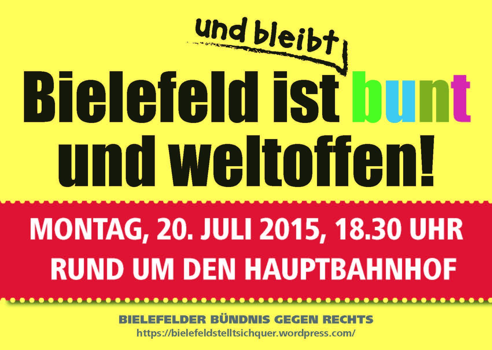 Gegenkundgebung zu Pegida am 20.07.2015 in Bielefeld
