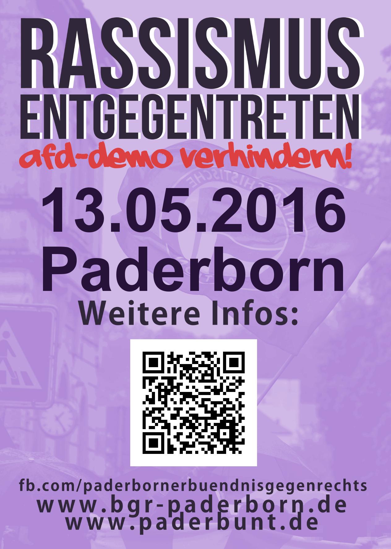 13. Mai: Es reicht! Gegen eine AfD-Hochburg in Paderborn #pb1305